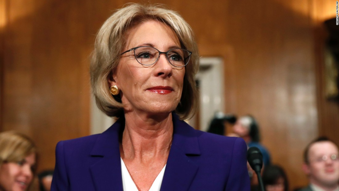 "Education Secretary-designate Betsy DeVos<a href=""http://www.cnn.com/2017/01/17/politics/betsy-devos-education-secretary-hearing/index.html""> prepares to testify</a> on Capitol Hill on Tuesday, January 17, 2017, at her confirmation hearing before the Senate Committee on Health, Education, Labor and Pensions."