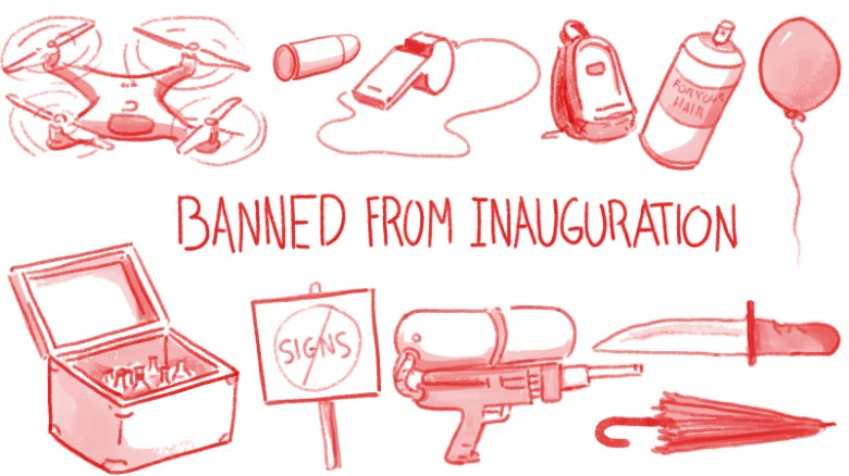 banned items from inauguration