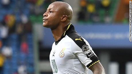 Ghana's forward Andre Ayew celebrates after scoring a goal during the 2017 Africa Cup of Nations group D football match between Ghana and Uganda in Port-Gentil on January 17, 2017. / AFP / Justin TALLIS        (Photo credit should read JUSTIN TALLIS/AFP/Getty Images)