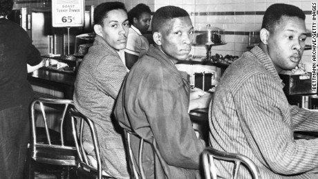 On February 1, 1960 four African-American students at North Carolina A&T College participate in a sit-in at a F. W. Woolworth's lunch counter reserved for white customers in Greensboro, North Carolina.