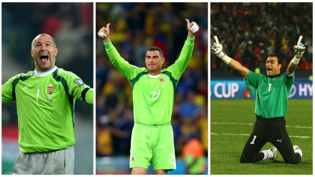 Pictured from left to right: Gábor Király, Faryd Mondragon and Essam El-Hadary -- the oldest to play in the Euros, World Cup and AFCON respectively.