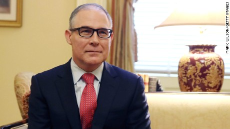 Oklahoma Attorney General and President-elect Donald Trump's nominee to head the Environmental Protection Agency (EPA), Scott Pruitt, meets with Senate Majority Leader Mitch McConnell (R-KY), on Capitol Hill January 6, 2017 in Washington, DC.