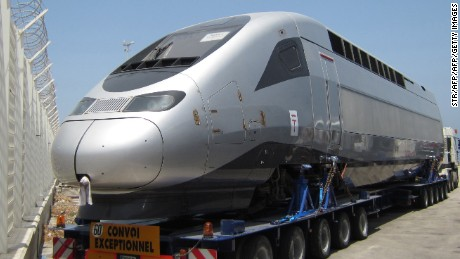 A carriages of a TGV high-speed train produced by Alstom is seen as it arrives at the Moroccan port of Tangier, on June 30, 2015. The 350 kilometres line linking the northern port city with Casablanca to the south via the capital Rabat is under construction in the north African country. AFP PHOTO / STR        (Photo credit should read STR/AFP/Getty Images)