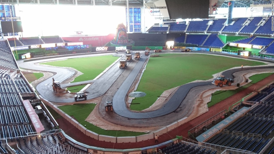 Once the layout of the track is down, attention turns to laying down the asphalt for the cars to go racing on. A single lap of the ROC racetrack is 613 meters (670 yards) long.