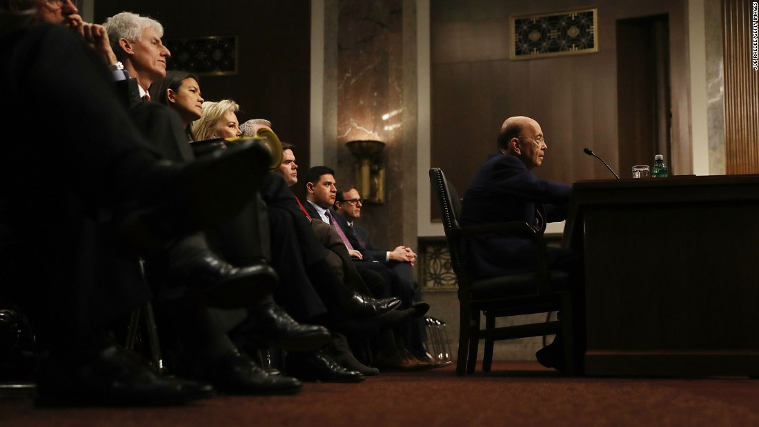 Commerce Secretary-designate Wilbur Ross testifies at his confirmation hearing on January 18.