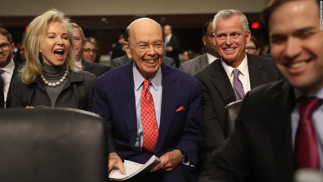 "Wilbur Ross, center, waits to be introduced by US Sen. Marco Rubio, right, at his confirmation hearing on January 18. Ross is a billionaire investor <a href=""http://money.cnn.com/2016/11/30/investing/wilbur-ross-commerce-secretary-trump/"" target=""_blank"">known for buying up distressed and failing companies.</a> At his confirmation hearing, he said he wants countries that resort to ""malicious"" trading tactics to be ""severely"" punished. Specifically, he <a href=""http://money.cnn.com/2017/01/18/investing/wilbur-ross-hearing-trump-commerce-secretary/index.html"" target=""_blank"">pointed the finger at China,</a> whom he called ""the most protectionist country of very large countries."""