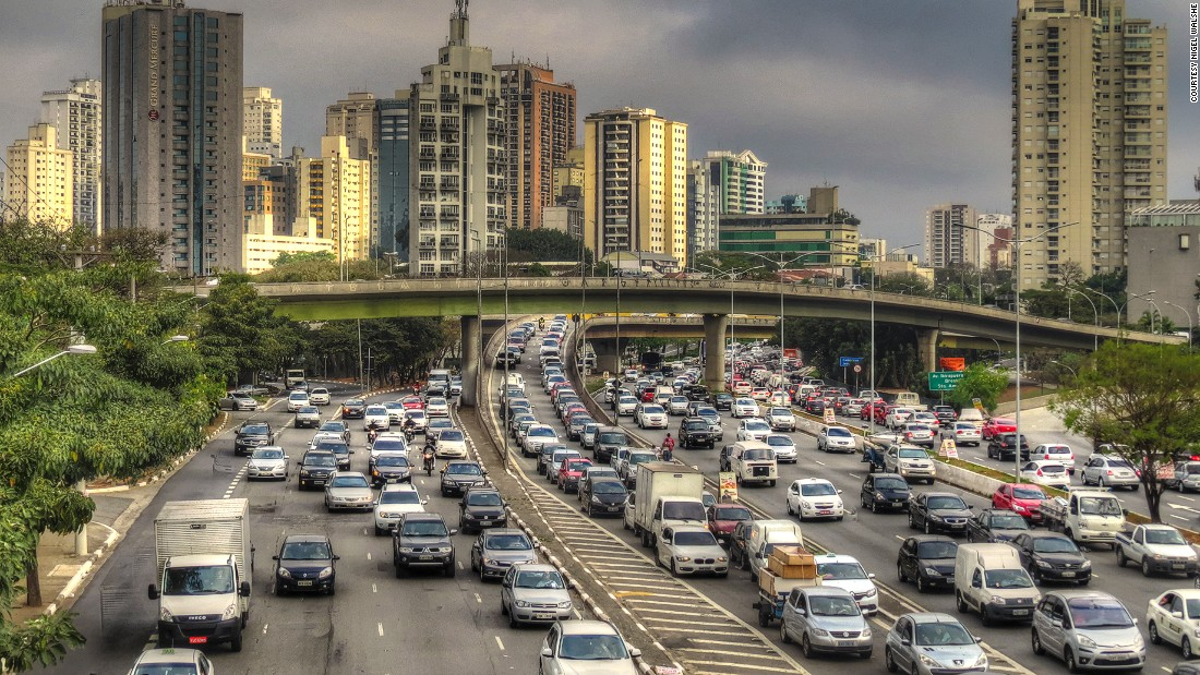 "Nigel Walshe also submitted this image of Sao Paulo: ""This is a picture of the greatest metropolis of South America,"" says Walshe. ""This picture for me captures the ever-present traffic and the 'Gotham City' quality of the buildings -- a Latin American New York City."""