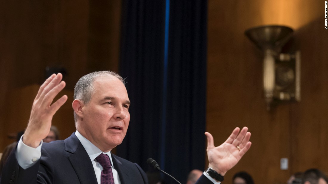 "Pruitt testifies at <a href=""http://www.cnn.com/2017/01/18/politics/scott-pruitt-epa-hearing/"" target=""_blank"">his confirmation hearing</a> in January. Pruitt said he doesn't believe climate change is a hoax, but he didn't indicate he would take swift action to address environmental issues that may contribute to climate change. He said there is still debate over how to respond."