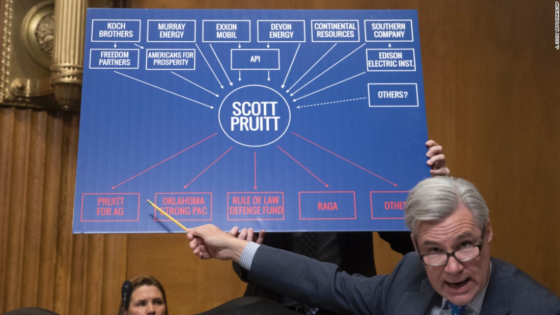 Sen. Sheldon Whitehouse, D-Rhode Island, points to a chart as he questions EPA Administrator-designate Scott Pruitt on January 18, during Pruitt's confirmation hearing.