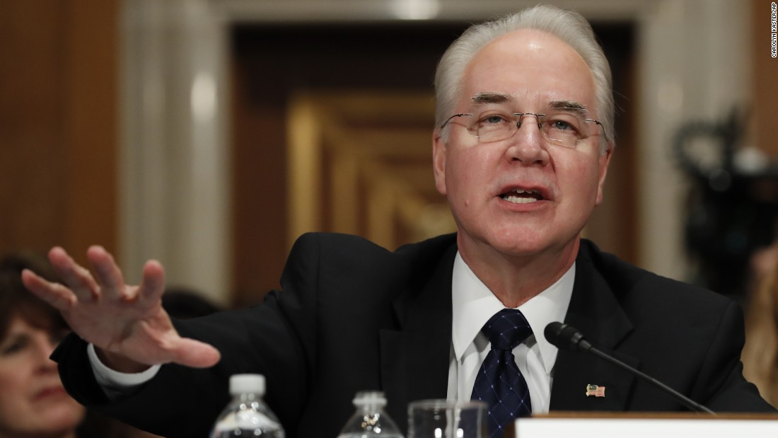Health and Human Services Secretary-designate Rep. Tom Price, R-Georgia, testifies on Capitol Hill on Wednesday, January 18, at his confirmation hearing before the Senate Health, Education, Labor and Pensions Committee.
