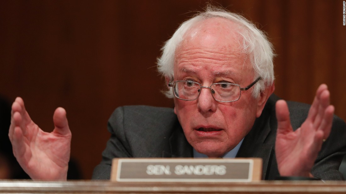 Senate Environment and Public Works Committee member Sen. Bernie Sanders, I-Vermont, questions Health and Human Services Secretary-designate Rep. Tom Price on Capitol Hill on January 18, during Price's confirmation hearing.