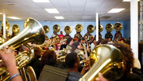 One of the band's many rehearsals in the week before the presidential inauguration.