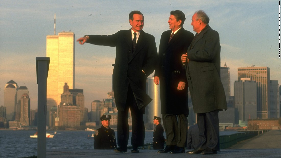 Soviet leader Mikhail Gorbachev takes in the New York City skyline in 1988 with Reagan and Bush.