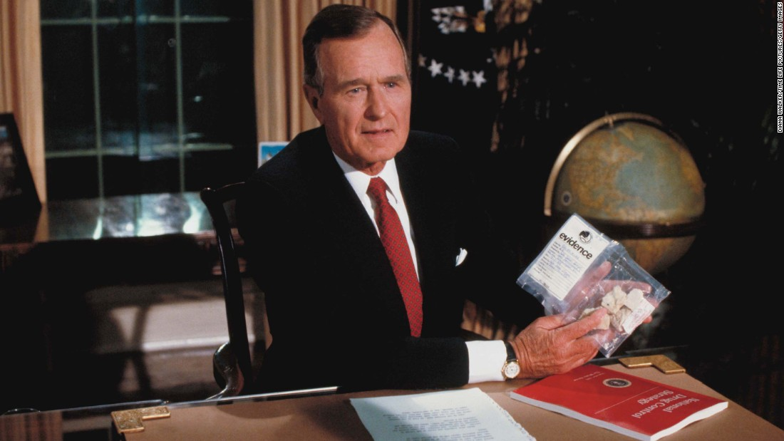 "President Bush holds up a plastic bag with crack cocaine during a televised speech about drugs. Weeks later it was <a href=""http://www.washingtonpost.com/wp-srv/local/longterm/tours/scandal/bushdrug.htm"" target=""_blank"">revealed that government agents had bought the drugs</a> from a dealer in front of the White House for the purpose of Bush's speech."