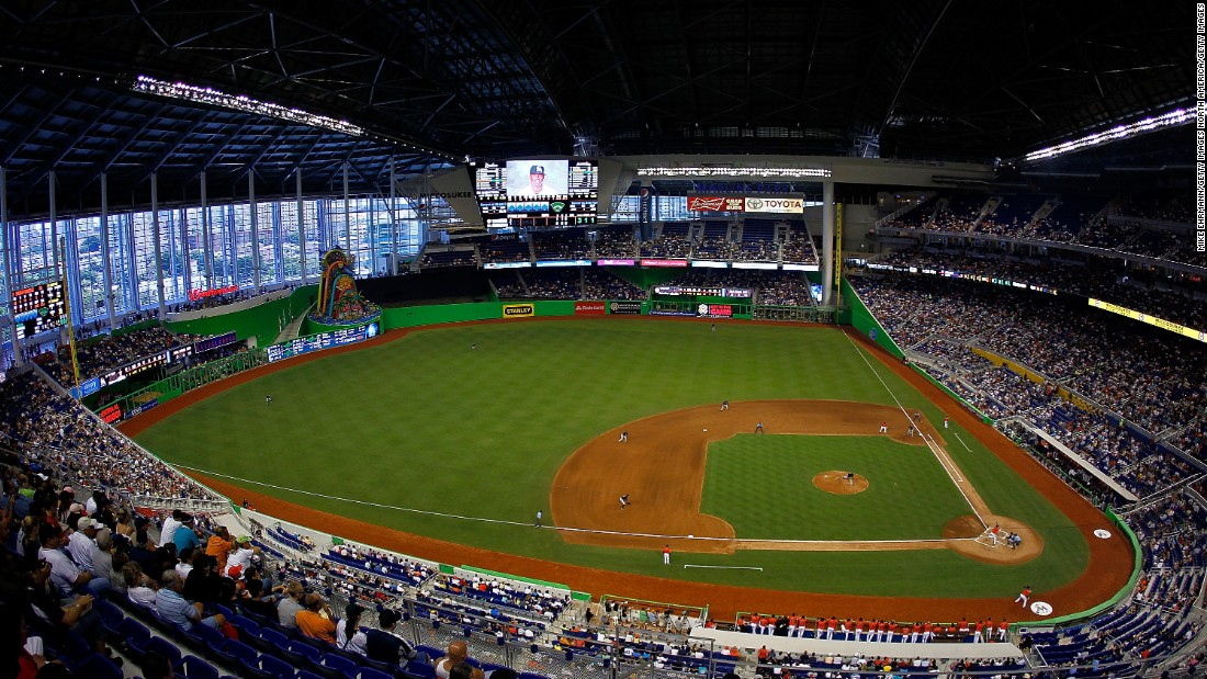 The Miami Marlins stadium is playing host to the Race of Champions, exchanging turf for racetrack.