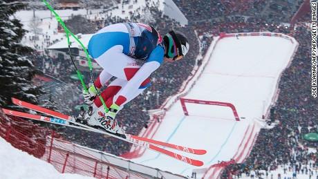 Marc Gisin of Switzerland competes during the men's downhill of FIS Ski World cup in Kitzbuehel,Austria on January 23,2016.  / AFP / JOE KLAMAR        (Photo credit should read JOE KLAMAR/AFP/Getty Images)