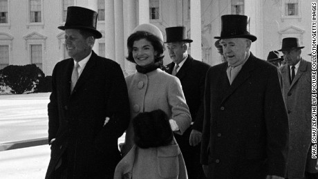 DISTRICT OF COLUMBIA, UNITED STATES - JANUARY 20:  New President John F. Kennedy & wife Jacqueline Kennedy and others walking to his Inauguration.  (Photo by Paul Schutzer/The LIFE Picture Collection/Getty Images)