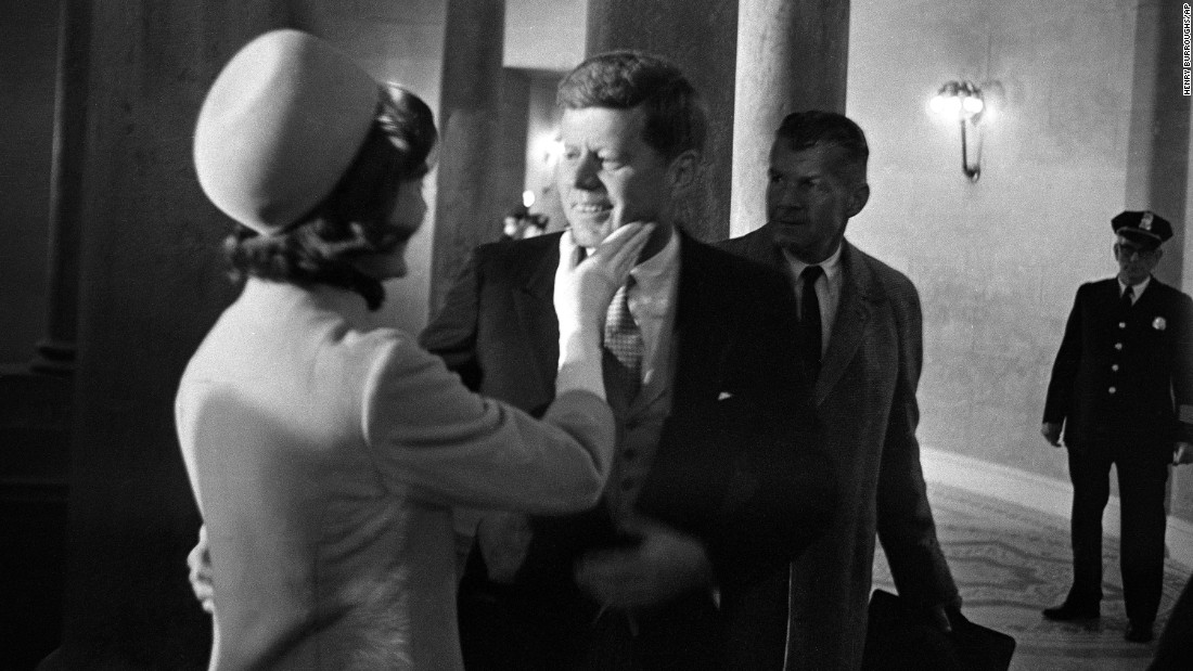 Jackie Kennedy greets her husband in the rotunda of the Capitol moments after he was sworn in as president. The pair married in September 1953, when she was then 24-year-old Jacqueline Bouvier, a writer with the Washington Times-Herald, and he a 36-year-old senator. They had two children who survived: Caroline and John Jr.