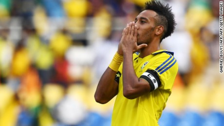 Gabon's forward Pierre-Emerick Aubameyang reacts after missing a goal opportunity during the 2017 Africa Cup of Nations group A football match between Gabon and Burkina Faso at the Stade de l'Amitie Sino-Gabonaise in Libreville on January 18, 2017. / AFP / GABRIEL BOUYS        (Photo credit should read GABRIEL BOUYS/AFP/Getty Images)