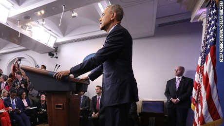 President Barack Obama holds the last news conference of his presidency in the Brady Press Briefing Room at the White House January 18, 2017 in Washington, DC.