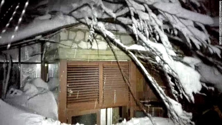 A picture provided by rescuers shows the hotel Rigopiano after it was hit by an avalanche.