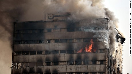 TEHRAN, IRAN - JANUARY 19 :   Fire engulfs high-rise building, Plasco, in Tehran, Iran on January 19, 2017. (Photo by Fatemeh Bahrami/Anadolu Agency/Getty Images)