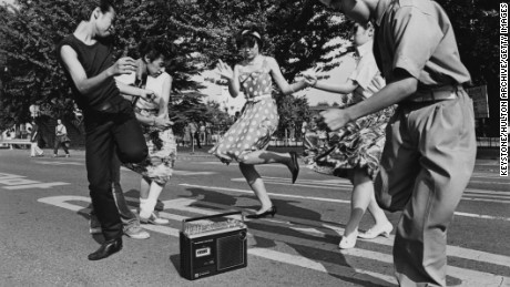 Teenagers dance around in the Harajuku district of Tokyo in 1978.