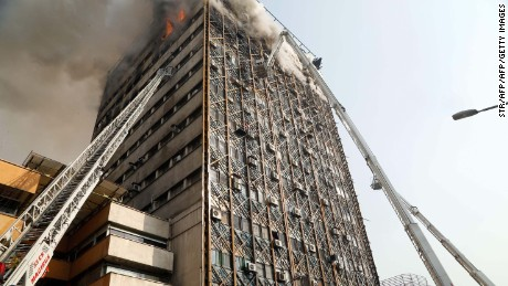 More than 20 firefighters were killed when the high-rise Plasco building collapsed after a blaze in Iran's capital.