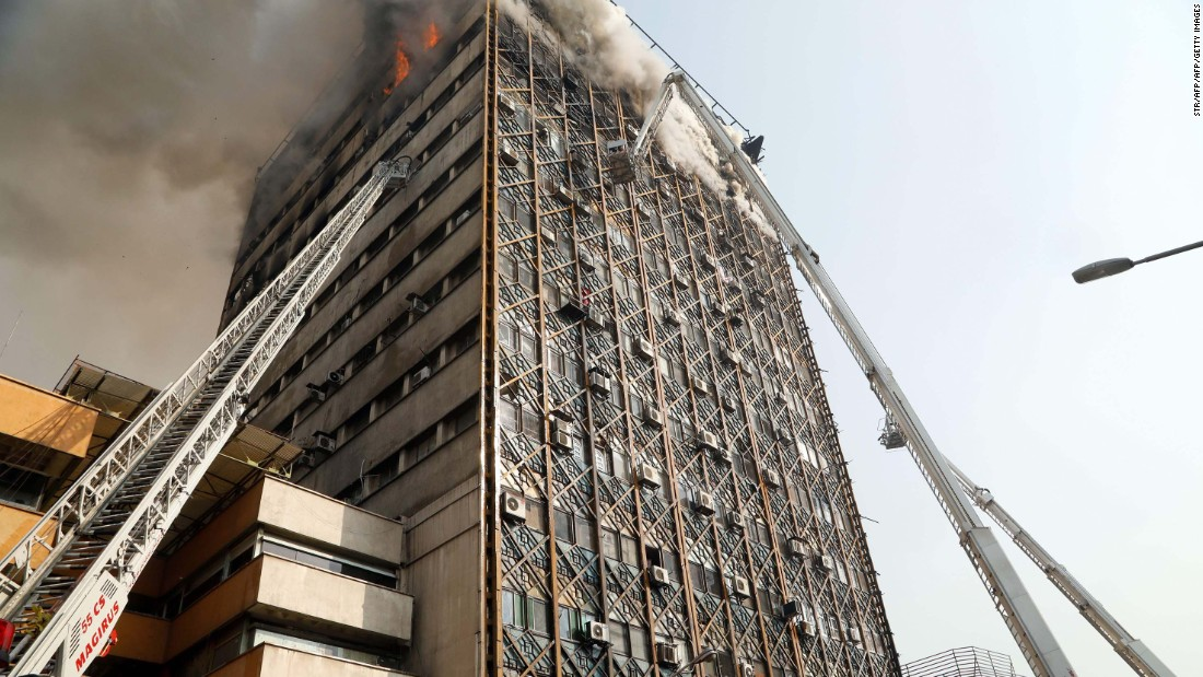 tehran fire causes building collapse on tv cnn video