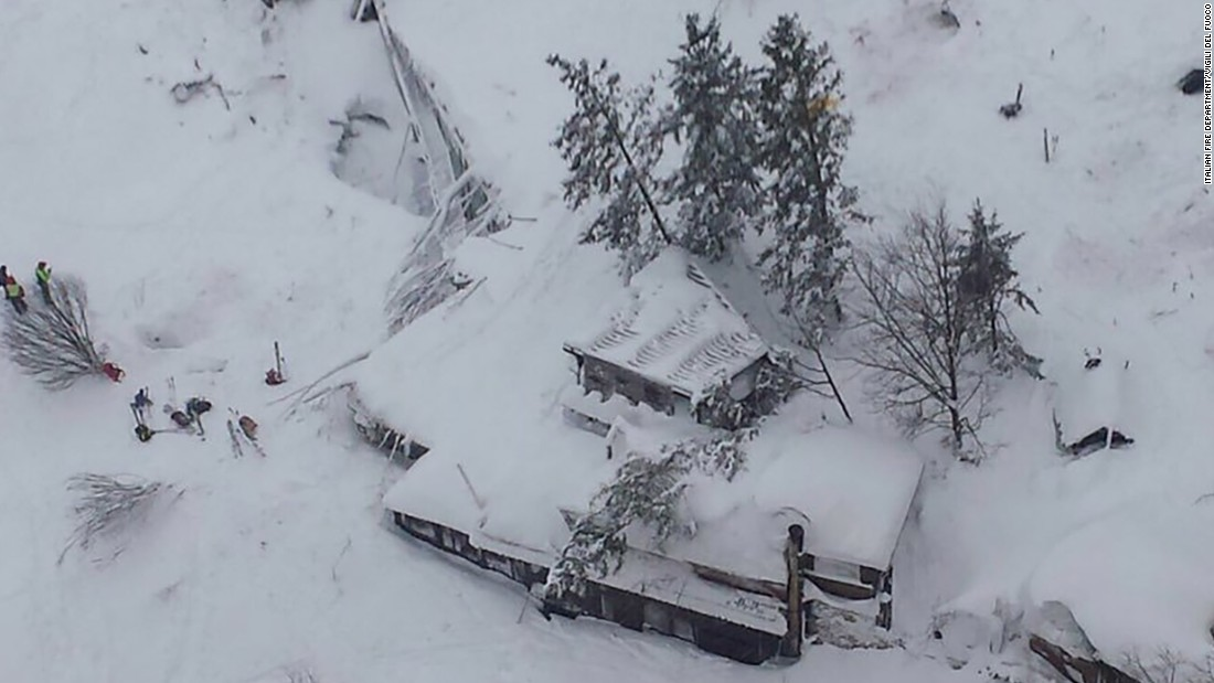 An aerial view shows the roof and top floor of the three-story Hotel Rigopiano buried in snow after an avalanche at the foot of Gran Sasso mountain in central Italy on Thursday, January 19. Officials believe 30 people are trapped inside the hotel.