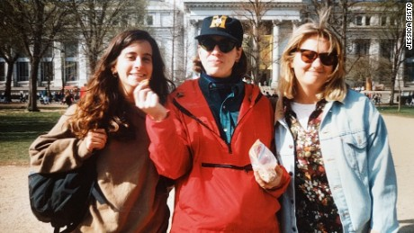 "Lisa Levine, Jessica Sisto and Jennifer ""Penny"" Martinand at the 1992 women's rights march in D.C."