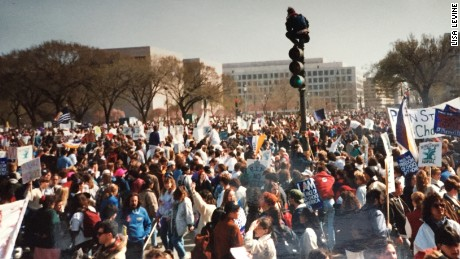 Protesters gather at the 1992 march for women's rights.