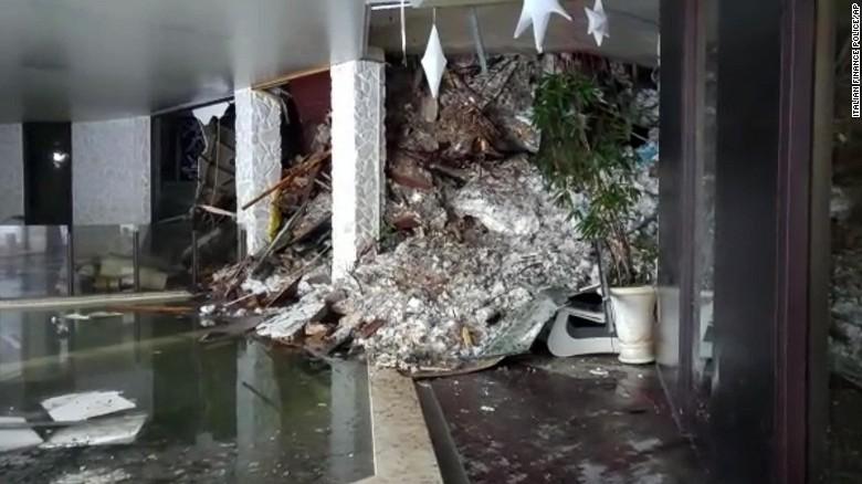 Snow and debris broke through windows or a thin wall into the Hotel Rigopiano.