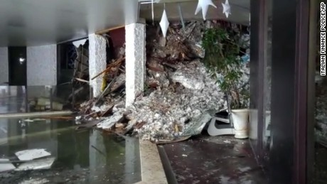 Snow and debris broke through windows or a thin wall into the Hotel Rigopiano.