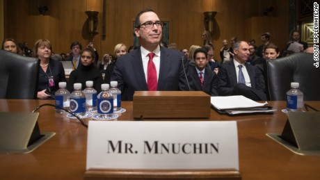 Treasury Secretary-designate Steven Mnuchin arrives on Capitol Hill in Washington, Thursday, Jan. 19, 2017, to testify at his confirmation hearing before the Senate Finance Committee. Mnuchin built his reputation and his fortune as a savvy Wall Street investor but critics charge that he profited from thousands of home foreclosures as the chief of a sub-prime mortgage lender during the housing collapse.