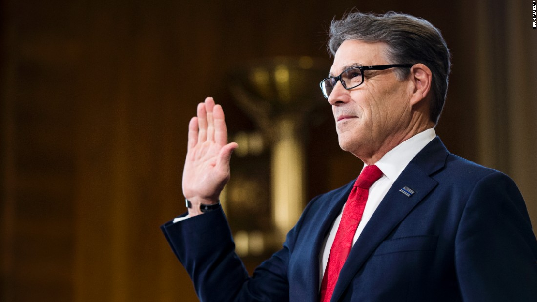 "Former Texas Gov. Rick Perry, President Trump's pick for energy secretary, is sworn in before his confirmation hearing on Thursday, January 19. <a href=""http://www.cnn.com/2017/01/19/politics/rick-perry-hearing-energy-department/index.html"" target=""_blank"">During his testimony,</a> Perry cast himself as an advocate for a range of energy sources, noting that he presided over the nation's leading energy-producing state. He also said he regrets once calling for the Energy Department's elimination."