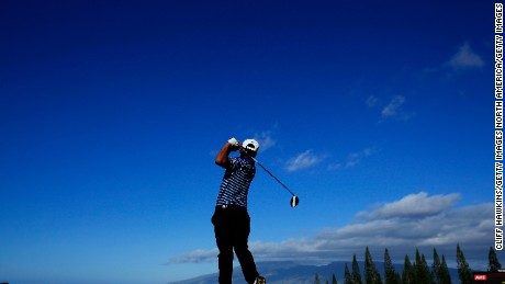 LAHAINA, HI - JANUARY 08:  Fabian Gomez of Argentina plays his shot from the first tee during the final round of the SBS Tournament of Champions at the Plantation Course at Kapalua Golf Club on January 8, 2017 in Lahaina, Hawaii.  (Photo by Cliff Hawkins/Getty Images)