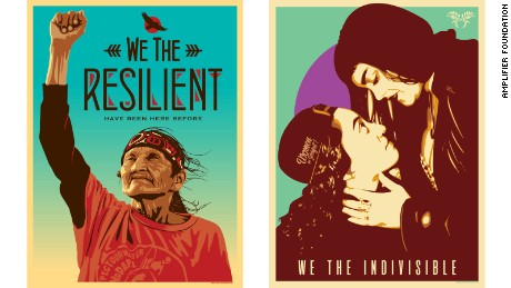 """We The Resilient"" by Ernesto Yerena (left) and ""We The Indivisible"" by Jessica Sabogal are also part of the Amplifier Foundation's We The People campaign."