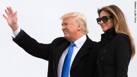 President-elect of The United States Donald J. Trump and first Lady-elect Melania Trump arrive at Joint Base Andrews the day before his swearing in January 19, 2017 in Maryland.