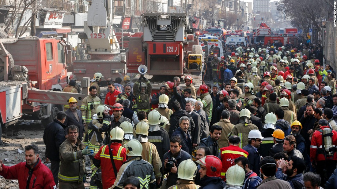Emergency crews continue operations after the collapse of the Plasco building. Built more than 50 years ago, the iconic building was home to hundreds of garment manufacturers and other businesses, Fars reported.