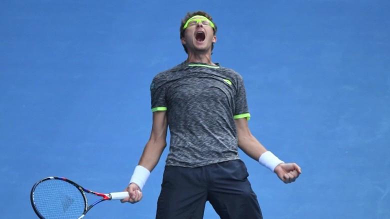 denis istomin defeats novak djokovic australian open tennis intv_00000000