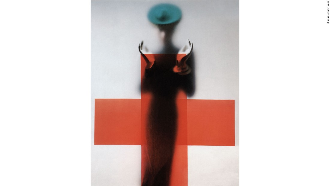 A shot taken by Erwin Blumenfeld for the March 1945 issue of American Vogue. The sparseness of the image was influenced by the need for this shot to have text running down its sides when featured in the magazine.<br />