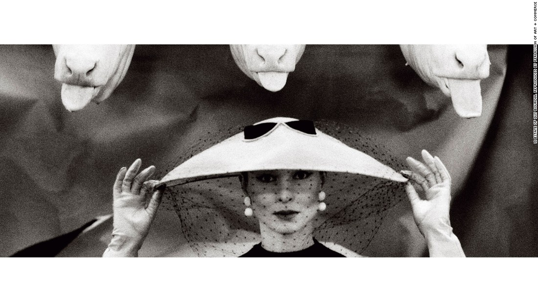 This famous image by Guy Bourdin appeared in the February 1955 edition of French Vogue.<br />