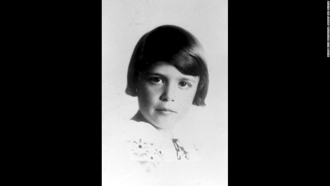 Bush is pictured at age 7, circa 1932. She was born Barbara Pierce on June 8, 1925, in New York.