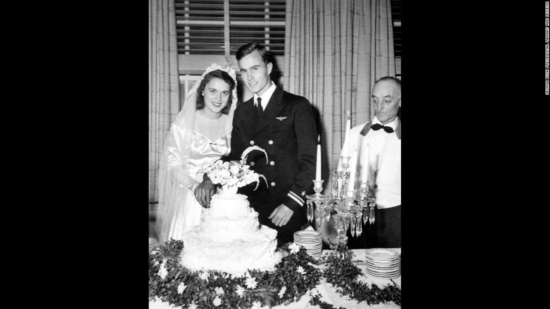 Bush and her husband, George, are pictured on their wedding day in Rye, New York. The two married on January 6, 1945.
