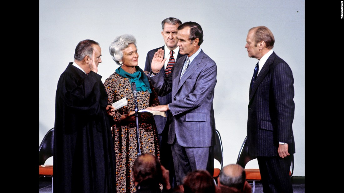 Bush's husband is sworn in as director of the CIA in Langley, Virginia, on January 30, 1976.