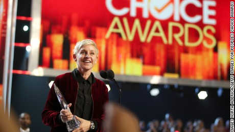 LOS ANGELES, CA - JANUARY 18:  TV personality/actress Ellen DeGeneres accepts the awards for Favorite Animated Movie Voice for 'Finding Dory' as Dory, Favorite Daytime TV Host, and Favorite Comedic Collaboration for 'Ellen DeGeneres and Britney Spears' Mall Mischief' onstage during the People's Choice Awards 2017 at Microsoft Theater on January 18, 2017 in Los Angeles, California.  (Photo by Christopher Polk/Getty Images for People's Choice Awards)