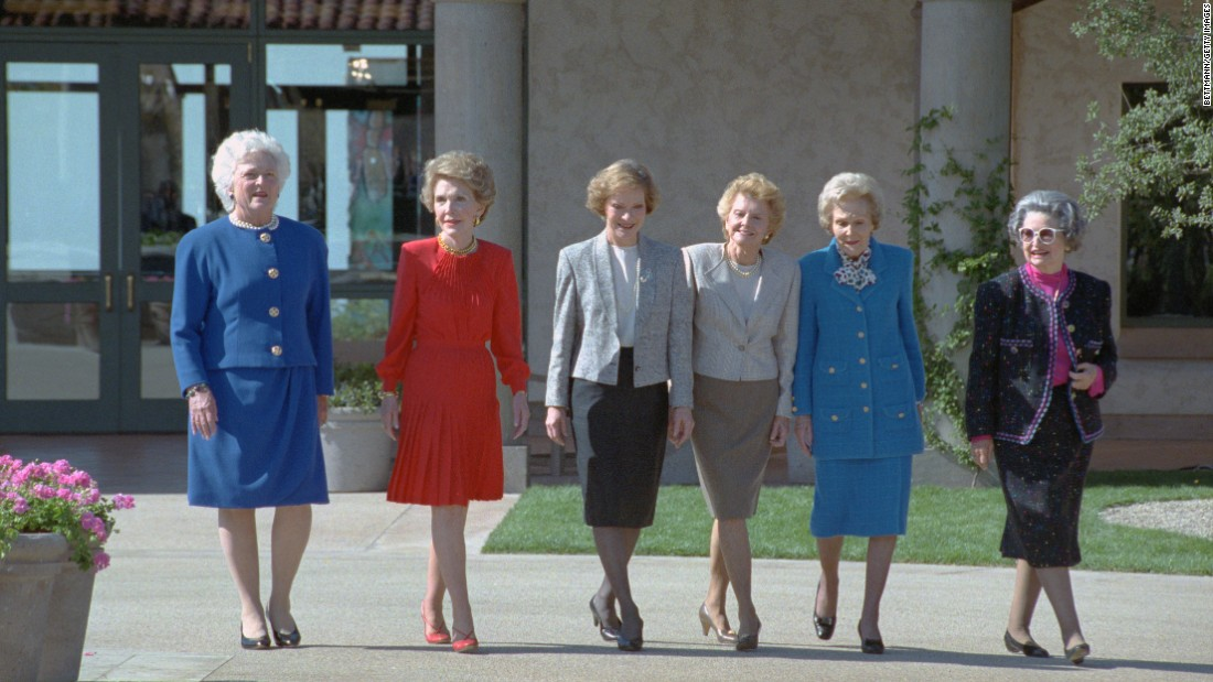 Six former first ladies of the United States take a stroll through the courtyard of the Ronald Reagan Presidential Library. Pictured from left are Bush, Nancy Reagan, Rosalynn Carter, Betty Ford, Pat Nixon and Lady Bird Johnson.