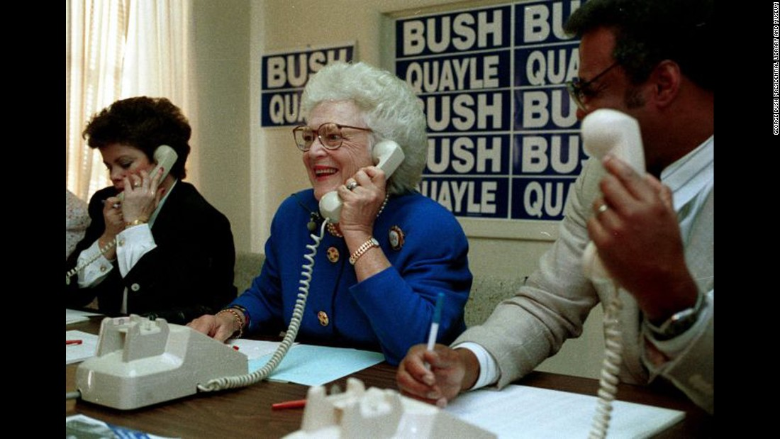 Bush makes campaign calls at a phone bank in Colorado Springs, Colorado, on February 2, 1992.
