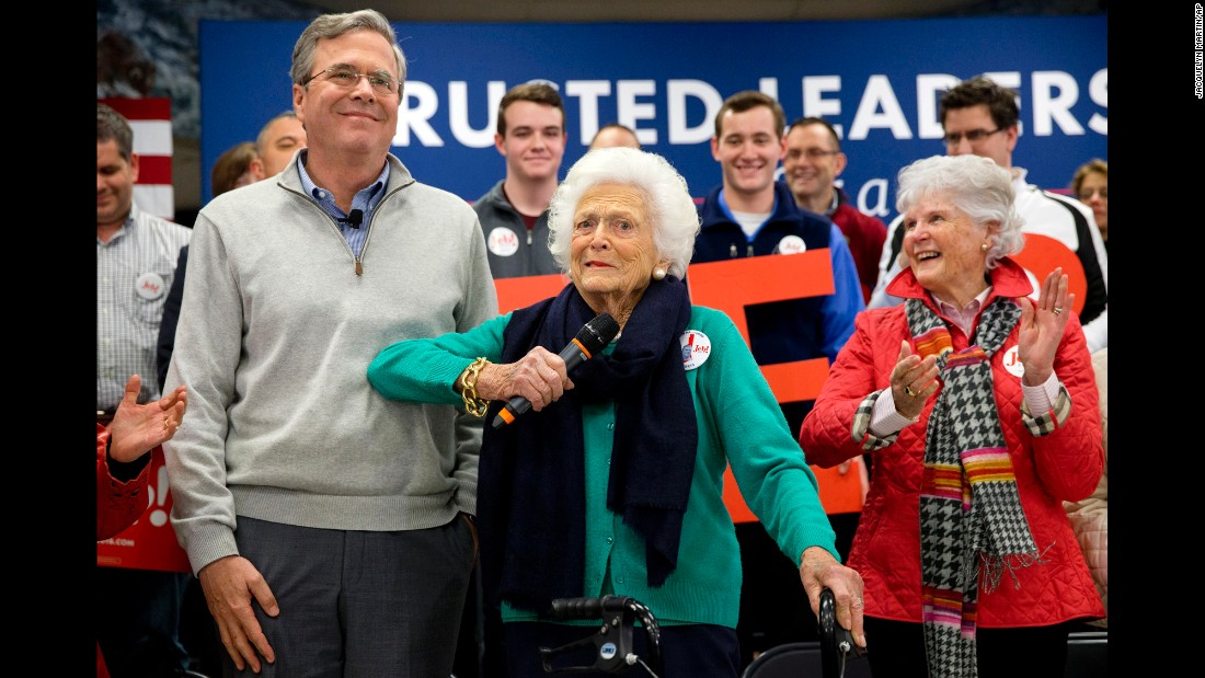 Bush jokes with her son, former Florida Gov. Jeb Bush, while introducing him at a town hall in Derry, New Hampshire, on February 4, 2016. He was a Republican presidential candidate during the 2016 election.